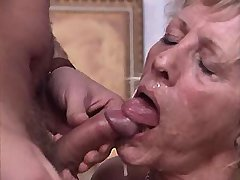 Aged blond mature sucks out cum after swing fuck